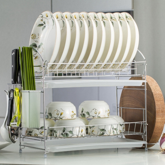 Double Tiers shelf Multi-functional Stype stainless iron Dish Rack Kitchen Storage Boxes Dish Drainer & Double Tiers shelf Multi functional Stype stainless iron Dish Rack ...