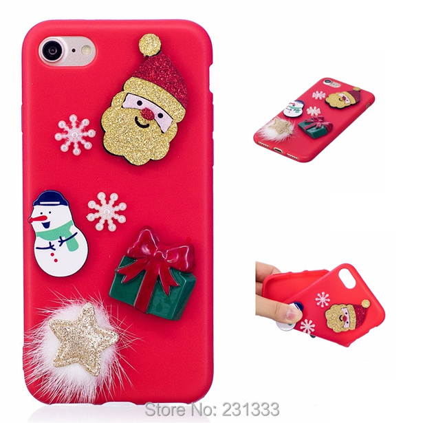 C-ku 3D Santa Claus Soft TPU Case For Iphone X 8 8th 7 PLUS 6 6S SE 5 5S For Huawei P10 LITE Merry Christmas Tree Cover 100pcs