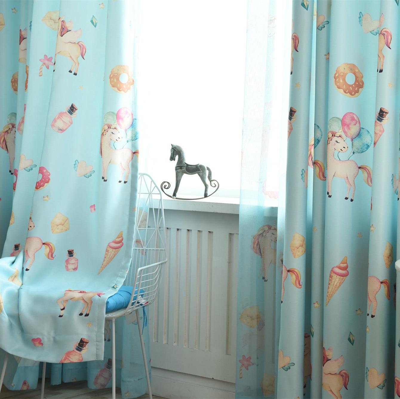 Korean Children's Room Bedroom Half Blackout Curtains For