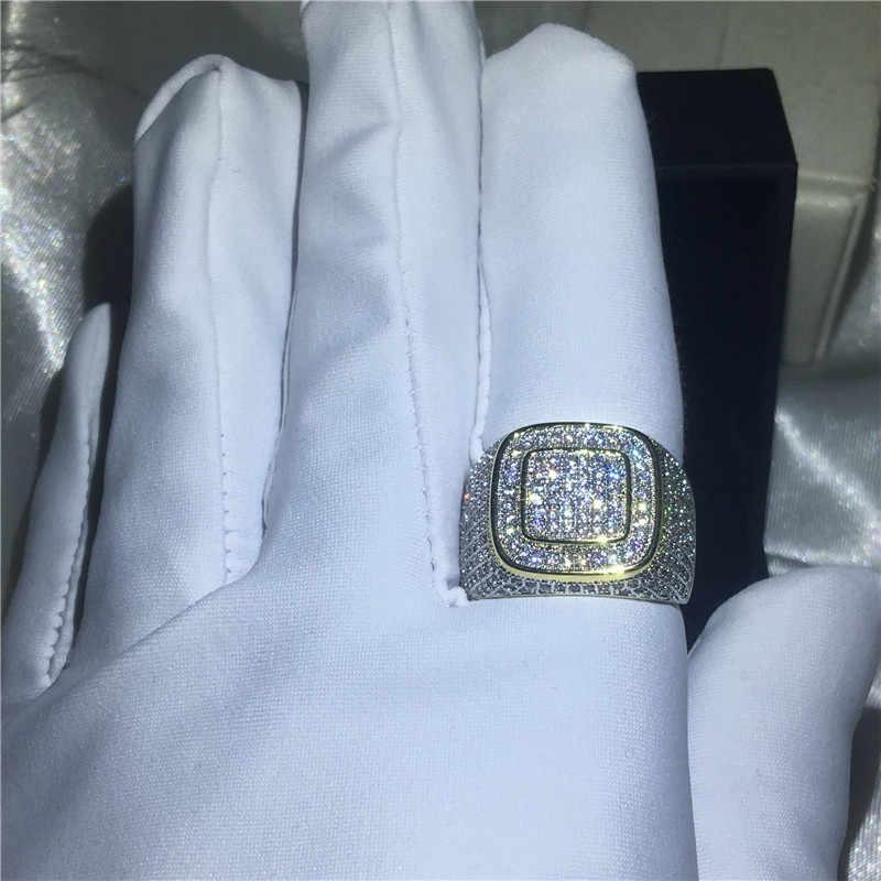 Choucong роскошное кольцо в стиле хип-хоп проложить Установка 274 шт. 5A Циркон cz желтое золото заполнены 925 серебро обручальные свадебные кольца для мужчин