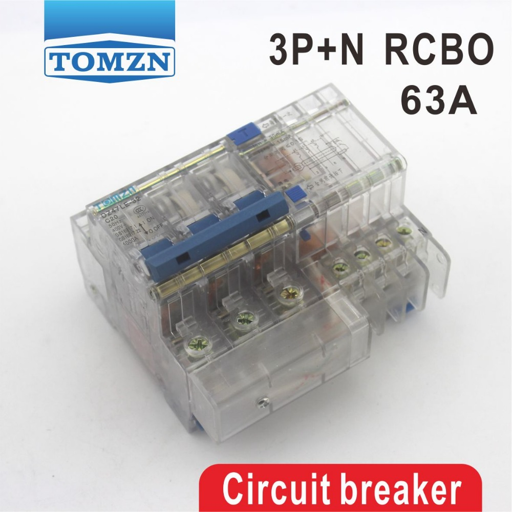DZ47LE 3P+N 63A 400V~ 50HZ/60HZ Residual current Circuit breaker with over current and Leakage protection RCBODZ47LE 3P+N 63A 400V~ 50HZ/60HZ Residual current Circuit breaker with over current and Leakage protection RCBO