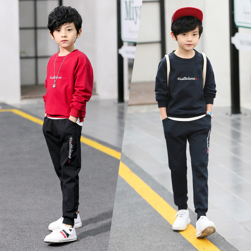 Boy Clothes Set 2018 New Sports Suit Autumn Long Sleeve Letter Shirt + Pant 2pcs Tracksuit Teenager Baby Boy Clothing 6 8 10 12 цена