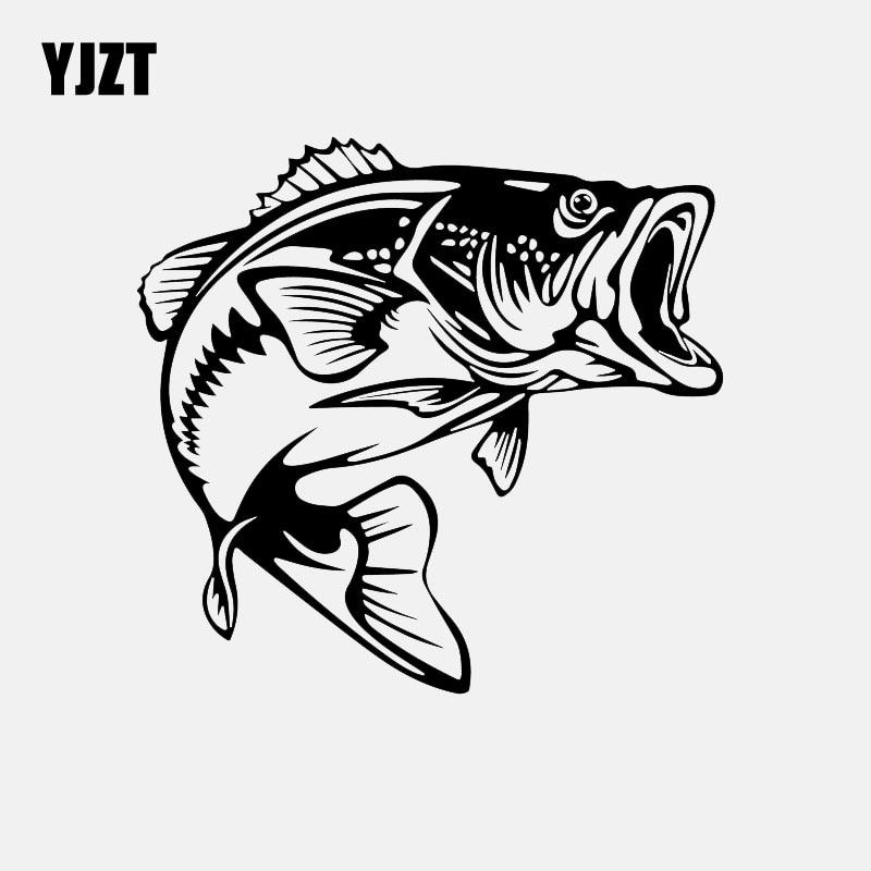 YJZT 14.5CM*13.7CM Bass Fish Decal Car Sticker Vinyl Fishing Black/Silver C24-0734