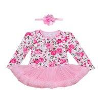 2 قطع لكل مجموعة الوردي روز الزهور المطبوعة نمط طفل الفتيات توتو فستان طويل الأكمام الرضع فتاة الزي العصابة 0-24Motnths