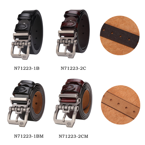 BISON DENIM genuine leather belt for men gift designer jeans belts men's high quality Cowskin Personality buckle Vintage N71223 Lahore