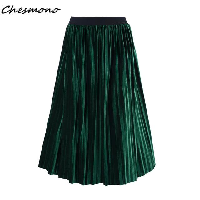 64838239e 2017 Spring Autumn Winter Women High Waist Pleuche Velvet Metallic Velour  Long Skirt American European Fashion Drop Shipping