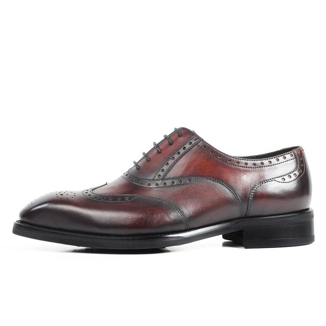 VIKEDUO Full Brogue Handmade Men's Oxford Shoes Genuine Leather Brown Wedding Office Party Mans Footwear Luxury Zapato de Hombre
