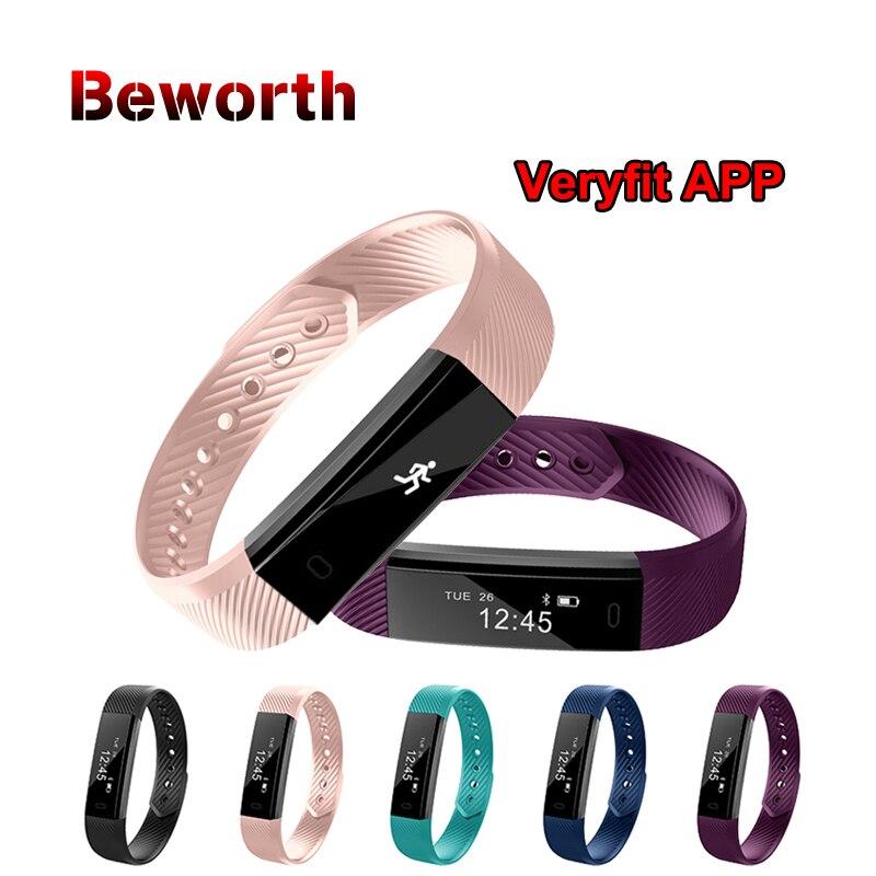 ID115 pulsera inteligente rastreador de Fitness podómetro Bluetooth Smartband deportes pulsera banda Veryfit APP reloj de alarma pk mi banda 2 3