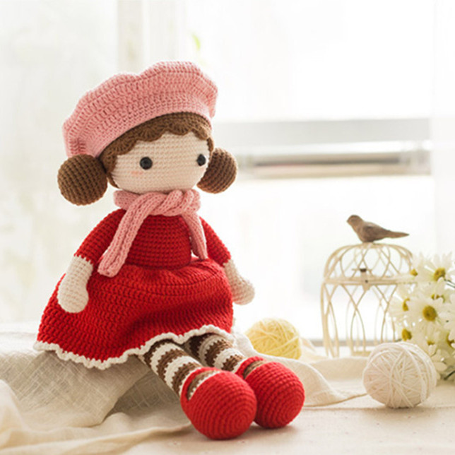 45cm Boutique Handmade Beret Doll Knitted Doll Christmas Gift Birthday Gift Children Girl Gift Baby Sleep