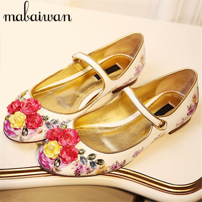 ФОТО Fashion Vintage Ballet Shoes Espadrilles Women Flowers Print Flats Casual Loafers Real Leather Rhinestone Flat Shoes Woman