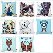 Cartoon Bichon Cat Bulldog Bull Terrier Dog Print Car Decorative Throw Pillowcase Pillow Case Cushion Cover Sofa Home Decor