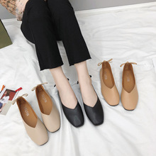 2019 explosion models comfortable light square shallow mouth peas shoes national style fashion casual