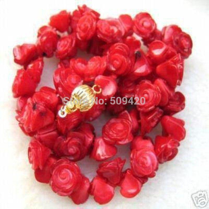W & O655 > > vente chaude jolie fleur de rose rouge corail collier 17