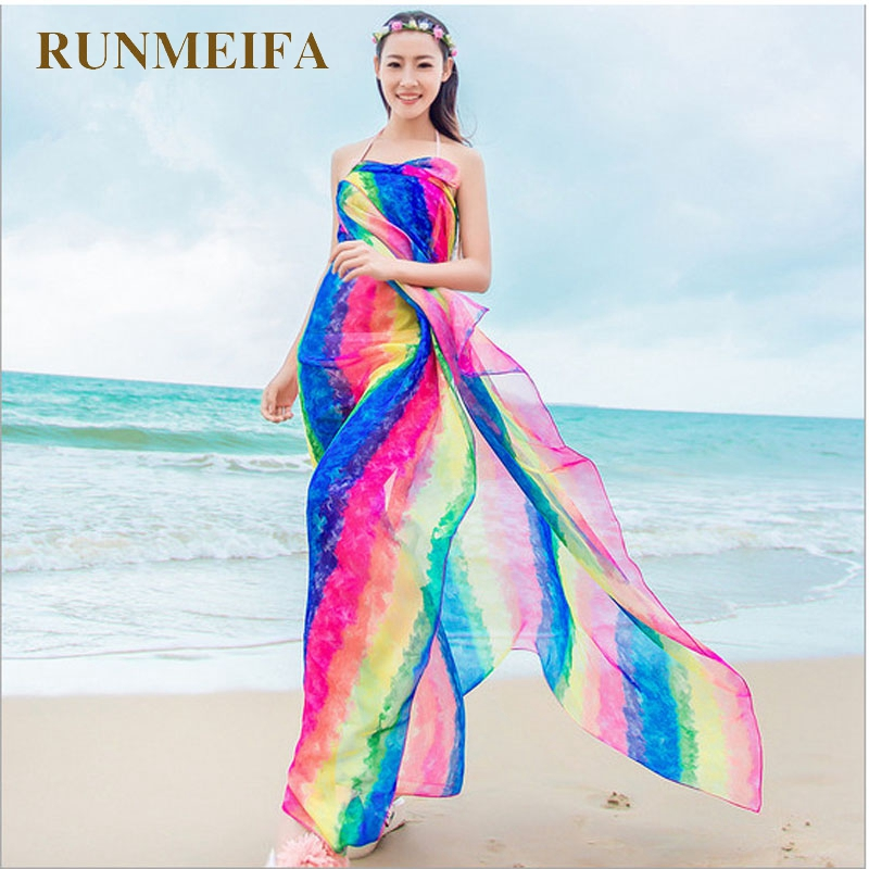 [RUNMEIFA] Summer Print Silk   Scarf   Oversized Chiffon   Scarf   Women   Wrap   Sarong Sunscreen Pareo Beach Cover Up Long Cape Female