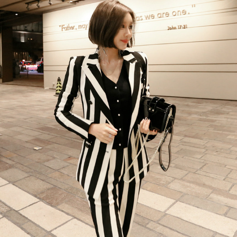 Business Suits Ladies Slim-fit Striped Long-sleeved Blazer Pants Suit High Quality Office Work Women's Suit Two-piece Set 2019