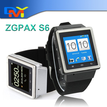 New Design!! ZGPAX S6 1.54 inch Android 4.04 Smart Watch Phone MTK6577 Dual Core 1.0GHz RAM 512MB ROM 4GB WCDMA & GSM 3G Phone