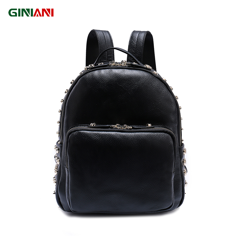 GINIANI Genuine Top Cow Leather High Quality Solid Color Girls Rucksack Heart Rivet Sweet Rock Style