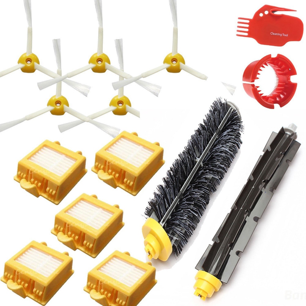 5 HEPA Filter +5 Side Brush Kit + 1 set Bristle Brush kit for iRobot Roomba 700 Series Vacuum Cleaning Robots 760 770 780 790 hepa filter side brush kit bristle and flexible beater brush suitable for irobot roomba vacuum parts 700 760 770 780 series