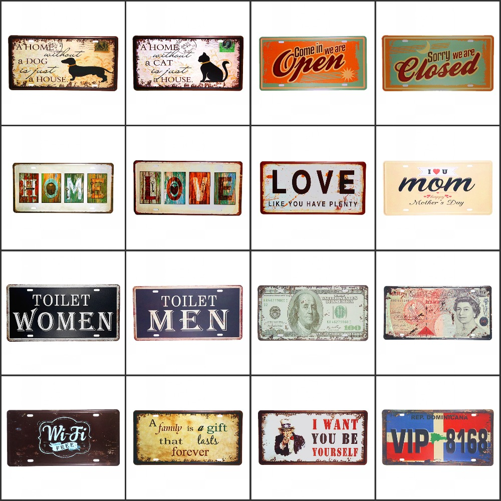 Vintage Metal Tin Signs Retro Car Number License Plate Plaque Love Home Dog Cat Open Closed Garage Pub Bar Home Wall Decor all you need is love and a cat