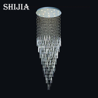 High grade crystal celling light modern lighting villa luxury hotel lamp double entry stair lamp long suspension wire lamp