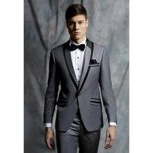 New Style Grey Men Suit Jacket Prom Slim Fit 2 Piece Custom Suits Groom Tuxedos Blazer Terno Masuclino (Jacket+Pants)