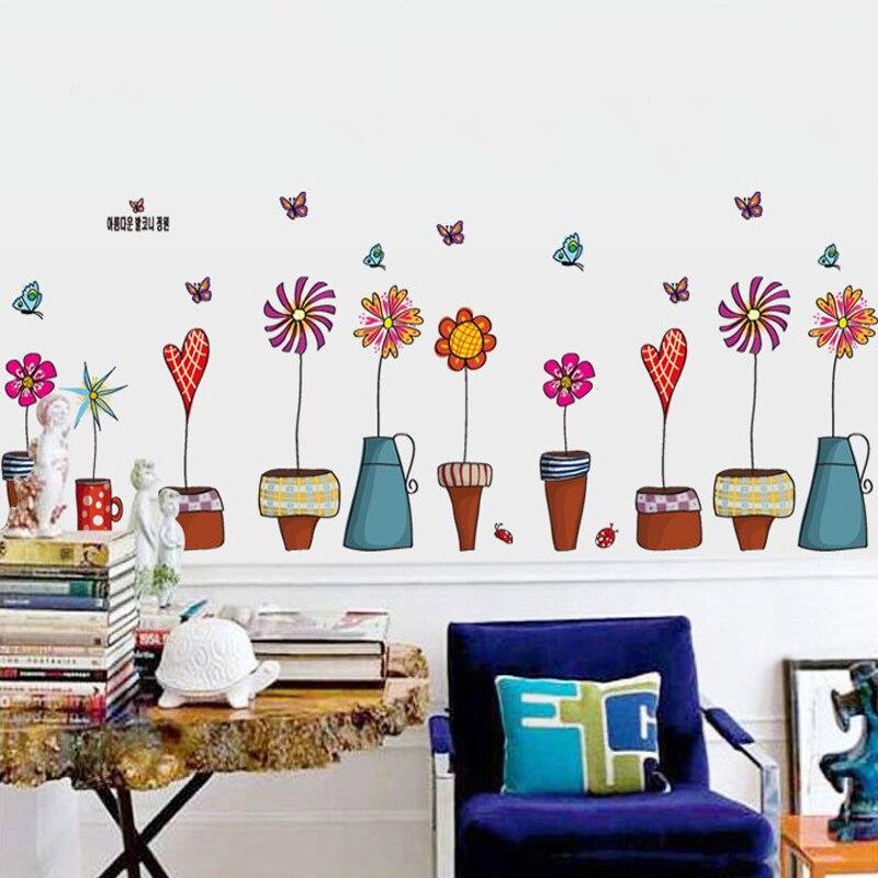 Glass Front Kids Room Decor: 2016 Cute Cartoon Flower Butterfly Wall Sticker Papel De