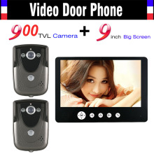 9 Inch Monitor Video Intercom Door Phone System 900TVL HD Camera Wired Video Doorbell Kit IR Night Vision 2pcs Camera