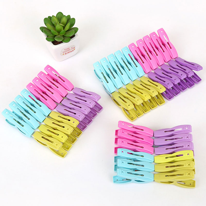 12 Packs / 16 20 Of Plastic Clothes Clips Strong Thick Windproof Durable Drying Clip Underwear Socks Clothespins