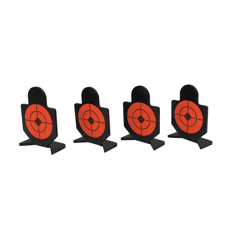 Man Silhouette Shooting Metal Targets With 10 Orange HV Stickers, 4 Pieces Per Set, 3mm Thickness