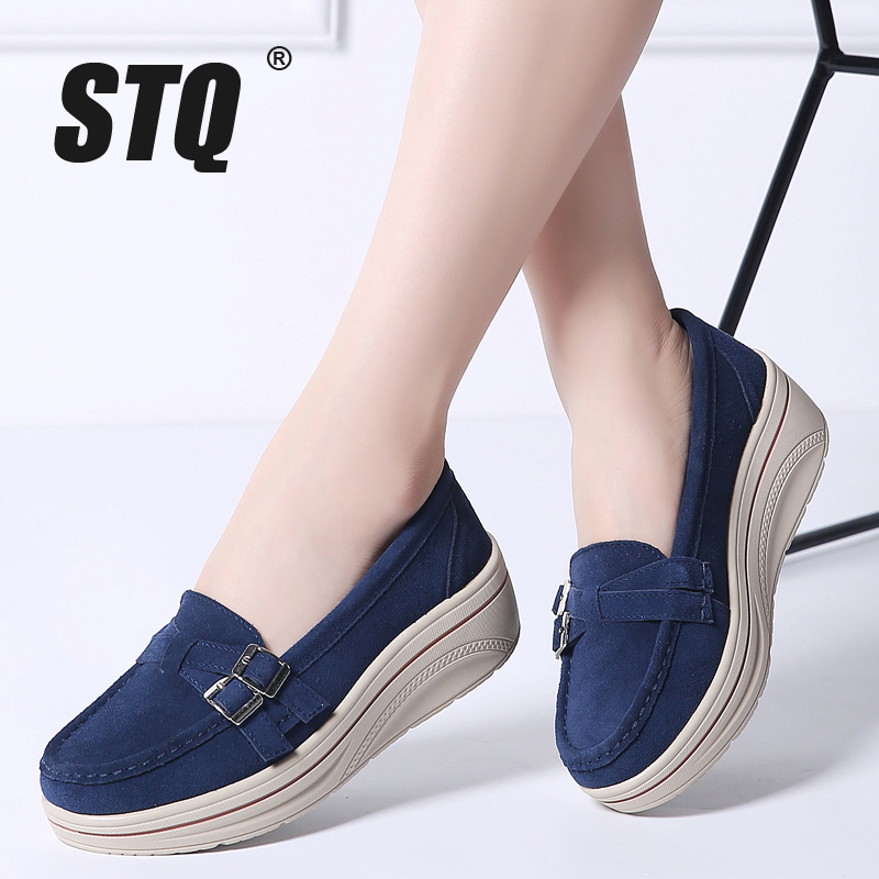 STQ 2019 Autumn women flats shoes platform sneakers shoes leather suede casual shoes slip on flats heels creepers moccasins 3039