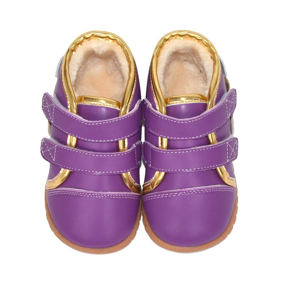 Meninas ankle boots de couro genuíno sapatos de inverno de pelúcia rosa roxo com bolinhas crianças SandQ bebê de 13.3-18.3 cm nova chaussure