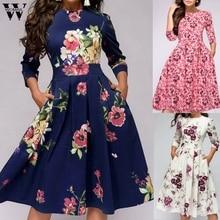 Womail dress Woman Summer Vintage Popular Print Half Sleeve O-Neck party Dress Holiday Elegant Beach Dress 2019 M57