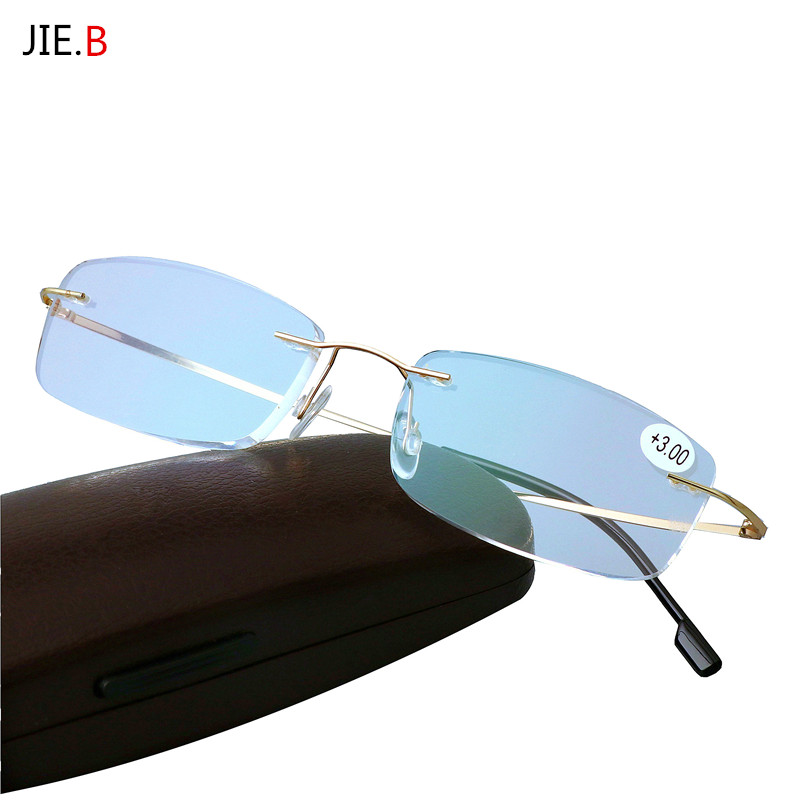 Presbyopia briller Folding Light Fleksibel Memory Titanium Rimless Reading Briller oculos de grau 1,0 1,5 2,0 2,5 3,0 3,5