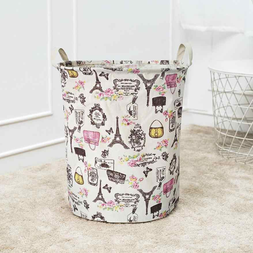 Waterproof Folding Laundry Clothes Basket Cartoon Storage Barrel Cotton Linen Dirty Clothes Basket Toy Bra Sock Storage Basket