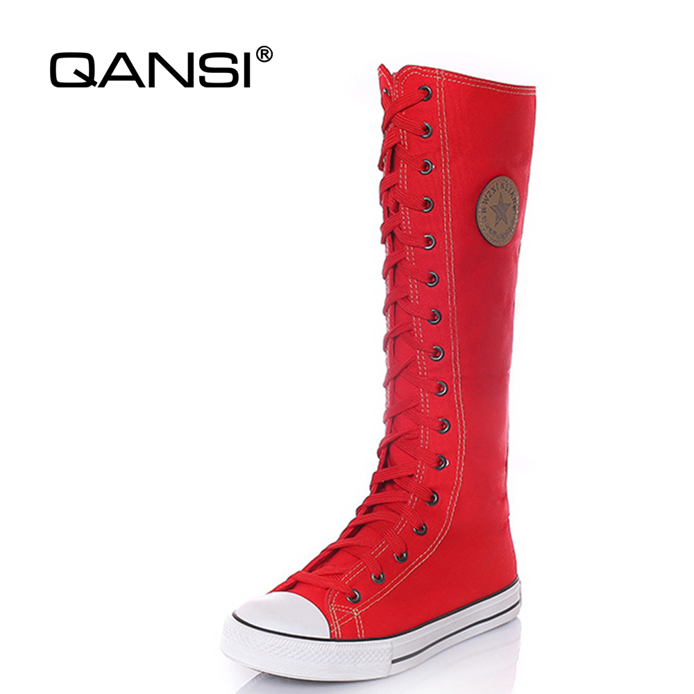 QANSI Women Plus Size 34 43 knee High Boots Fashion Woman Lace up Zip Canvas Mid