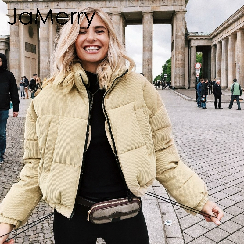 JaMerry Casual loose corduroy thick   parka   Winter warm soft fashion overcoat Women 2018 khaki lapel streetwear padded coat