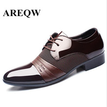 AREQW  High Quality Pointed Toe Design Formal Office Work Wedding Shoes 2016 Fashion Men's Shoes Casual Leather For Man