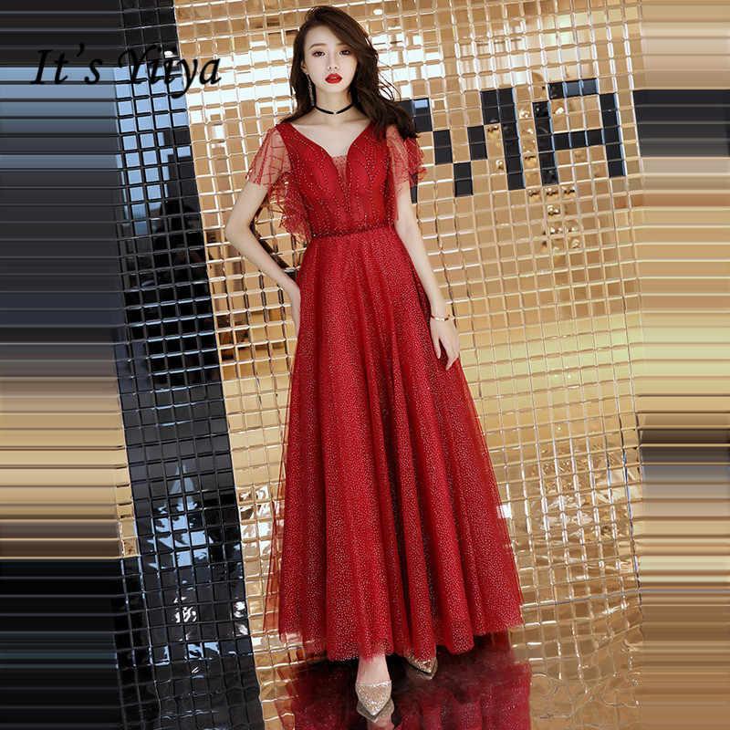 1c7102bd603 Это YiiYa вечернее платье 2018 вино красное Бисероплетение Кристалл  v-образный вырез кружева А-