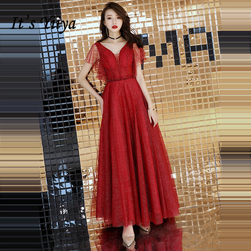 It's YiiYa   Evening     Dress   2018 Wine Red Beading Crystal V-neck Lace A-line Floor-length Dinner Gowns SB011 robe de soiree