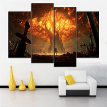 Home Wall Decor One Set Modular Combinatorial Art Painting 4 Piece World of Warcraft Battle for Azeroth Game Poster Canvas Print