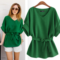 2018 summer new bow green cotton and linen women blouse female lady loose casual shirts plus size tops