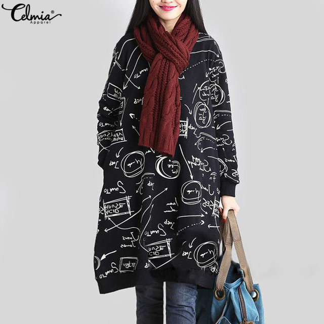 2018 Celmia Women Autumn Long Sleeve Print Vintage Dress Winter Velvet Pockets Casual Loose Midi Dresses Oversized Plus Size 5XL 1