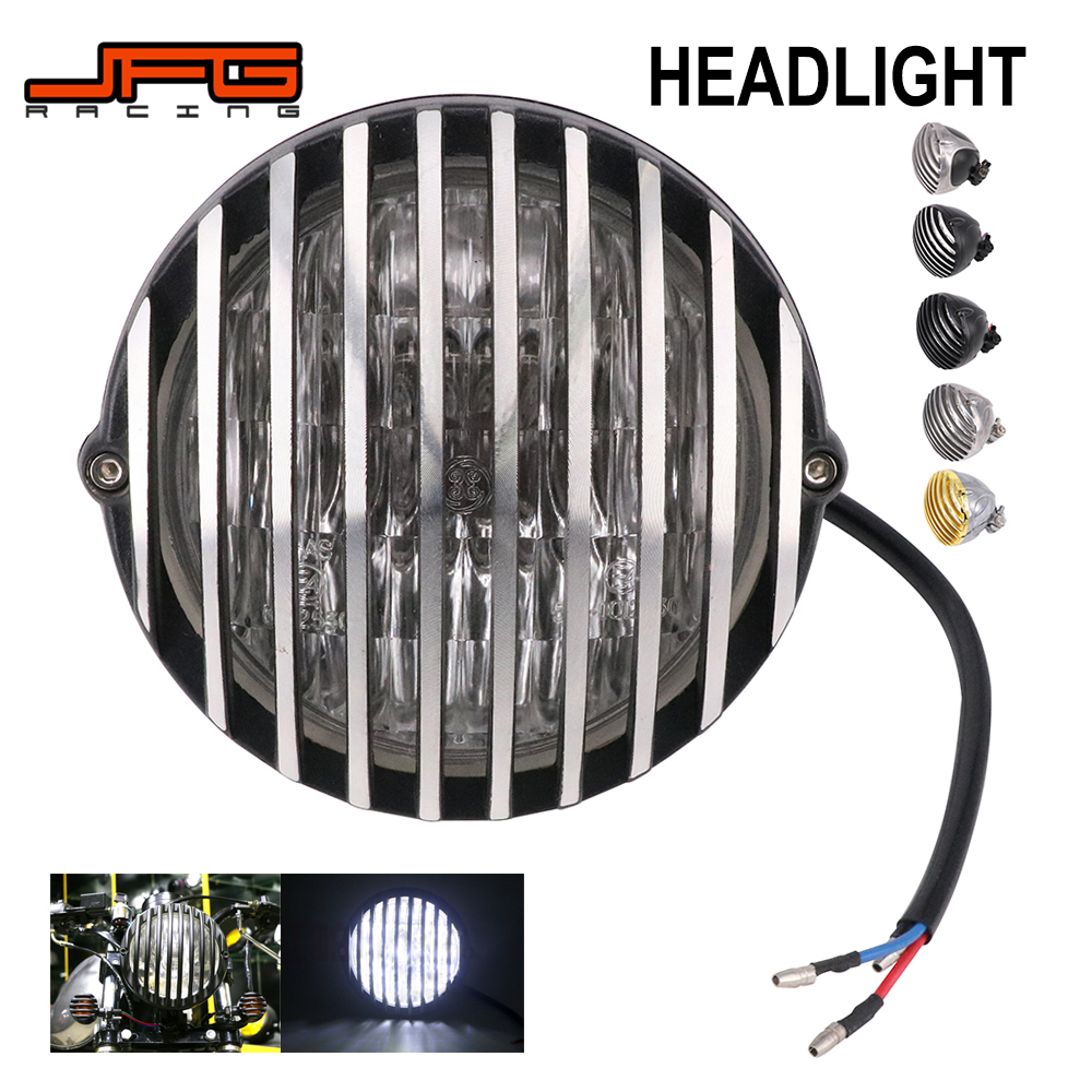 Motorcycle Universal Retro Finned Grill Headlamp Headlight For Harley Cafe Racer HONDA YAMAHA SUZUKI Chopper Bobber