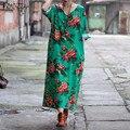 ZANZEA 3/4 Sleeve Dress 2017 Women Casual Loose Vintage Elegant  V Neck Ladies Floral Print Long Maxi Dress Vestidos Plus Size