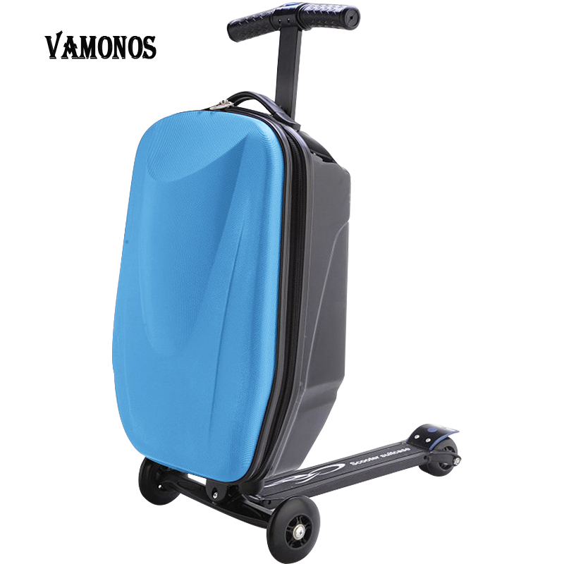 100% PC Suitcase Fashion Students Scooter Boy Cool 3D Case Carts Extrusion Business Travel Baggage Children Boarding Box 2 Types 21 inch students scooter suitcase boy cool trolley case 3d extrusion high quality pc separable travel luggage child boarding box