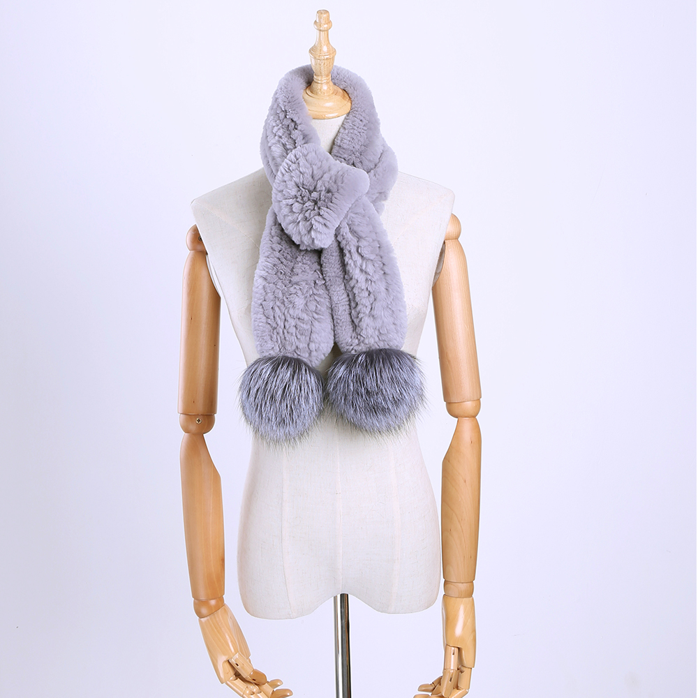 2017 New Real Rex Rabbit Fur Knitted Women's Winter Warm   Scarf     Scarves     Wraps   Russia Neck Warmer With Silver Fox Fur Pom Poms