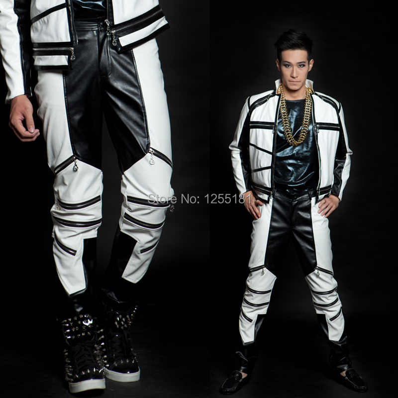 New Male Fashion Costume Black And White Color Block Mz General Version Of Zipper Leather Pants Dancewear Men's Trousers