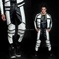 Nova moda masculina traje preto e branco cor bloco mz geral versão de calças de couro calças dancewear homens