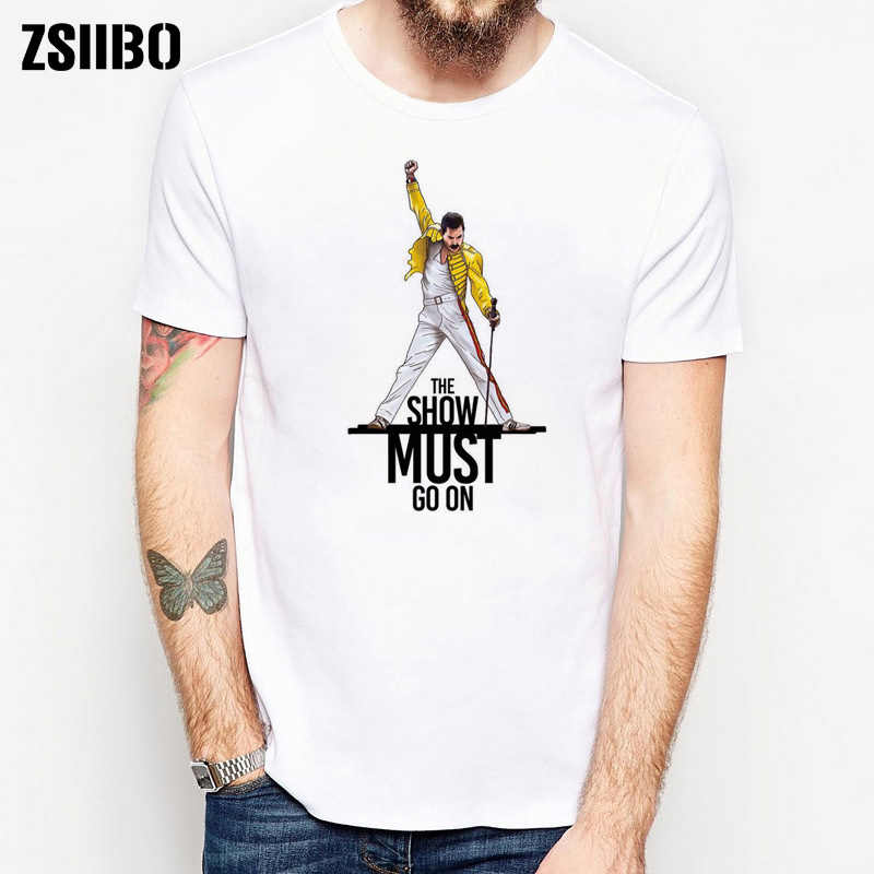 ZSIIBO HY1MC46 Freddie Mercury Queen Band T-Shirt Heren Hip Hop Rock Hipster T-shirt