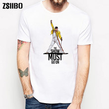 ZSIIBO HY1MC46 Freddie Mercury Queen Band T-Shirt Mens Hip Hop Roccia Pantaloni A Vita Bassa T Shirt(China)